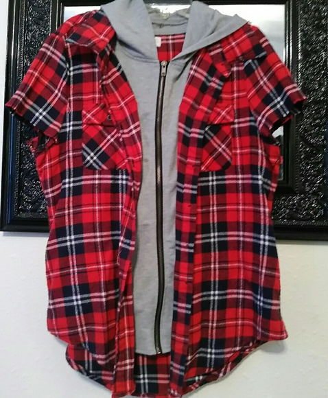 Jackets & Blazers - Flannel Jacket With Cut Off Sleeves